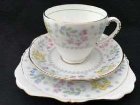 Handpainted Grafton deco tea trio